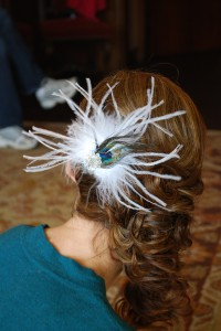 Bride Hair with Feather Clip